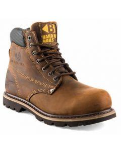Buckler Men's Cowhide Lined Safety Work Boots Dark Brown B425SM