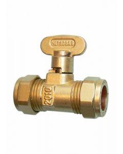 Compression Rigid Fan Gas Cock Brass 10mm - 40010123