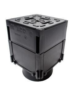 ACO HexDrain Corner Unit with Black Plastic Grating & Vertical Outlet