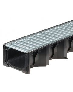 Aco Hexdrain Plastic Channel with Galvanised Steel Grating 1 Metre