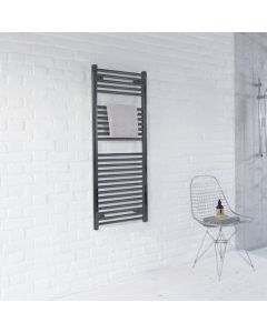 Zehnder Aura Straight Towel Rail Anthracite 1217x500mm - PBZ1200500346