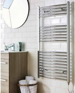 Curved Towel Rail Chrome Plated 22mm 1600x500mm