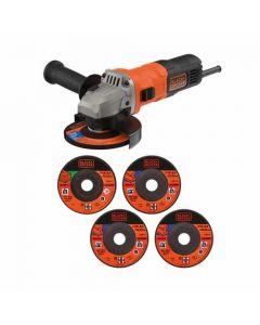 Black + Decker 710w Grinder 115mm with 4x Metal & 1x Stone Cutting Discs - BEG010A5-GB