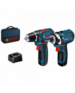 Bosch 12V Hammer Drill & Impact Driver Twinpack c/w 2x 4Ah Batteries, Compact Charger & Mobility Solution