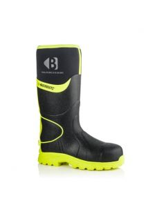 Buckbootz Hi-Viz Non-Metallic Ankle Protection Safety Wellington Boots Black/Yellow - BBZ8000 BK YL