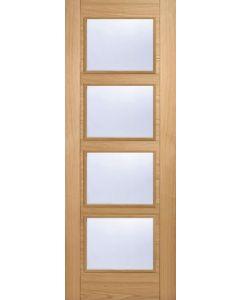 2040 x 726 mm Oak Vancouver Clear Glazed 4L Glass Internal Door