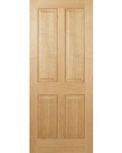 2040 x 726mm Oak Regency 4 Panel Raised Fire Door