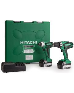 Hitachi Cordless Combi Drill & Impact Driver Twin Pack 18V with  x 5.0Ah Li-ion Batteries - KC18DGL/JE