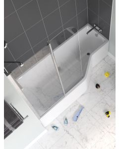Lakes Classic Curved Hinged Bath Screen 930-955x1400mm - SS120S