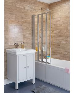 Lakes Classic Framed Bath Screen Silver 2 Panel 950x1400mm - SS75S