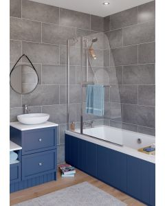 Lakes Classic Sculpted Bath Screen Double Panel with Towel Rail 1175x1400mm - SS44S