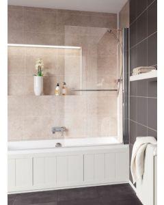 Lakes Coastline & Classic Square Bath Screen with Towel Rail Silver 800x1400mm - SS55S