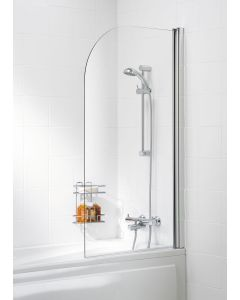 Lakes Coastline & Classic Curved Bath Screen with Towel Rail Silver 800x1400mm - SS11S