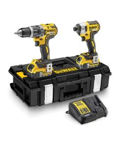 Dewalt 18V XR Brushless Compact Twin Kit (with 2x 5.0ah Batteries, Charger & Case) TSTAK - DCK266P2-GB
