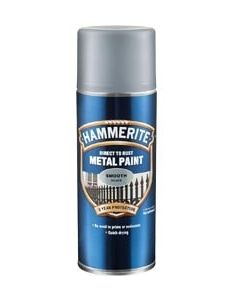 Hammerite Direct to Rust Metal Paint Aerosol - Smooth Finish-Silver