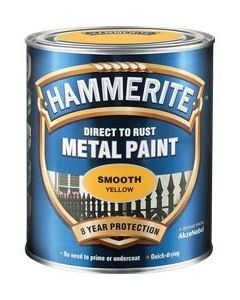 Hammerite Direct to Rust Metal Paint - Smooth Finish 250ml Yellow