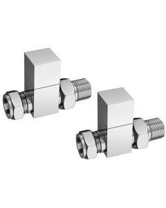 Cube Towel Rail Valves Chrome Plated Straight