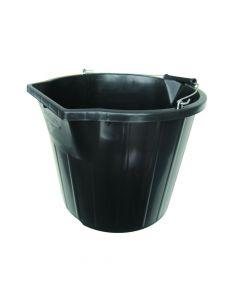 Heavy Duty Contractor Pour and Scoop Bucket Black 3 Gallon