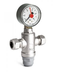 Intatec 15mm Mini pressure Reducing Valve inc Gauge MINIPRVG