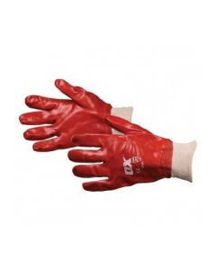OX Red PVC Knit Wrist Gloves Size 9 (Large)