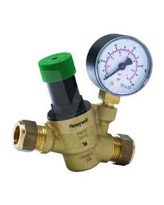 Honeywell Home Pressure Reducing Valve with Gauge 15mm - D04FM-1/2ZGC