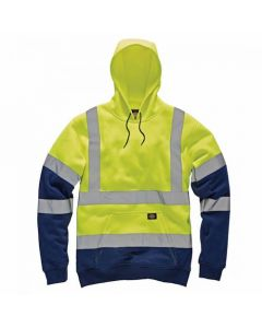 Dickies High Visibility Two Tone Hoodie SA22095 Yellow/Navy Large