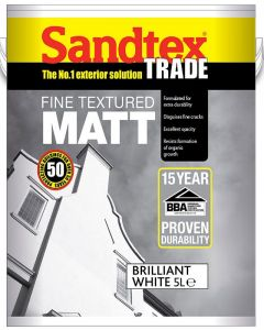 Sandtex Trade High Cover Smooth Masonry Paint 10 litre - Brilliant White