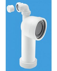 McAlpine Rigid Bent WC Connector with Vent Boss (Adjustable Lenth) WC-CON8V