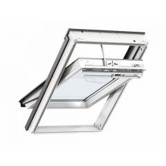 Velux Integra Electric White Polyurethane Centre Pivot Roof Window 78x98cm