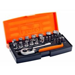 """Bahco 25 piece 1/4"""" Square Drive Socket Set with Metric Hex Profile and Screwdriver Bits/Bit Holder - BAHSL25"""