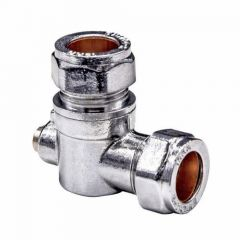 Isolation Valve Angled (Slotted) Chrome Plated 15mm WRAS Approved
