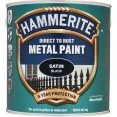 Hammerite Direct to Rust Metal Paint - Satin Finish-750ml-Black