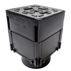 ACO HexDrain Corner Unit with Black Plastic Grating & Vertical Outlet