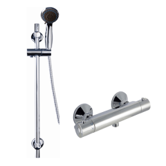 Cool Touch Round Thermostatic Bar Valve with Riser Rail & Multi Function Handset