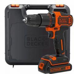 Black + Decker 18v Li-Ion Hammer Drill with 1x 1.5ah Battery, Charger & Kit Box - BCD700S1K-GB