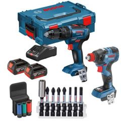 Bosch 18V Brushless Hammer Drill & Impact Driver Twinpack c/w 2x 4Ah Batteries, Fast Charger & Mobility Solution