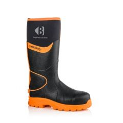 Buckbootz Hi-Viz Non-Metallic Ankle Protection Safety Wellington Boots Black/Orange - BBZ8000 BK OR
