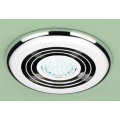 HIB Cyclone Wet Room Inline Fan, Chrome - Cool White LED