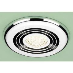 HIB Cyclone Wet Room Inline Fan, Chrome - Warm White LED