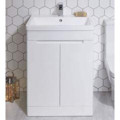 Selkirk Floor Standing 2 Door Unit with Basin Gloss White 500mm - 53001/53000