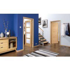 2040 x 726 mm Oak Vancouver Clear Glazed 4L Glass Internal Fire Door