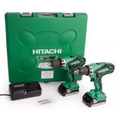 Hitachi 18V Cordless Li-ion 2 Piece Combi Drill & Drill Driver Kit (2 x 1.5Ah Batteries) KC18DGL/JB