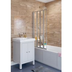 Lakes Classic Framed Bath Screen Silver 3 Panel 1390x1400mm - SS80S