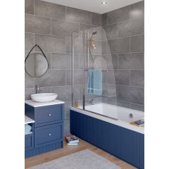 Lakes Classic Sculpted Bath Screen Single Panel 860x1400mm - SS33S