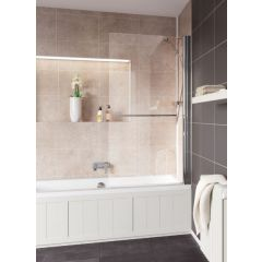 Lakes Coastline & Classic Square Bath Screen with Towel Rail Silver 800x1400mm - SS55S