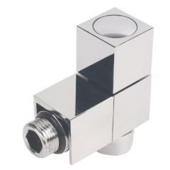 Cube Towel Rail Valves Chrome Plated Angled