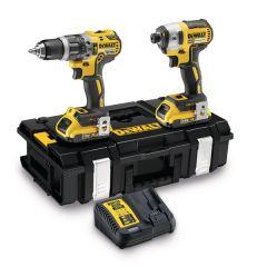 DeWalt 18V XR Brushless Twin Kit - DCD796 Compact Hammer Drill + DCF887 Impact Driver (c/w 2 x 2.0ah batteries, charger & case) - DCK266D2-GB