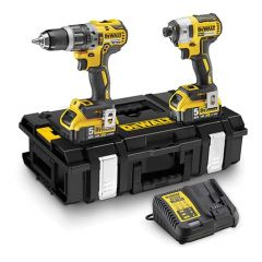 DeWalt 18V XR Compact Twin Drill & Impact Driver Kit (with 2x 5.0ah Batteries, Charger & Case) TSTAK - DCK266P2-GB