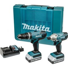 Makita 'G' Series 18v 2 Piece Combo Kit (HP457D Combi Drill, TD127D Impact Driver, 2x BL1813G Batteries & DW18WA Charger)- DK18015X1