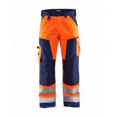 Blaklader Hi-vis Trousers Without Nail Pockets - Orange / Navy Blue